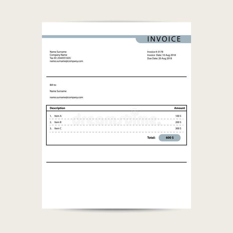Vector mínimo de la plantilla de la factura Diseño de muestra del documento de las finanzas de Bill libre illustration