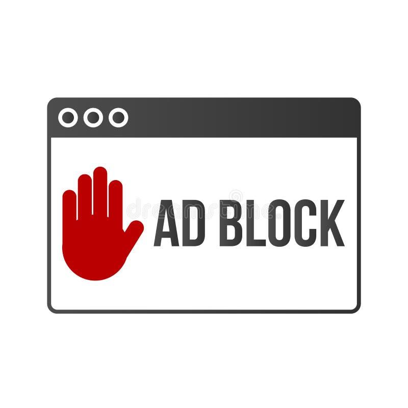 Vector móvil del concepto de la cerradura de la bandera del bloque del anuncio stock de ilustración