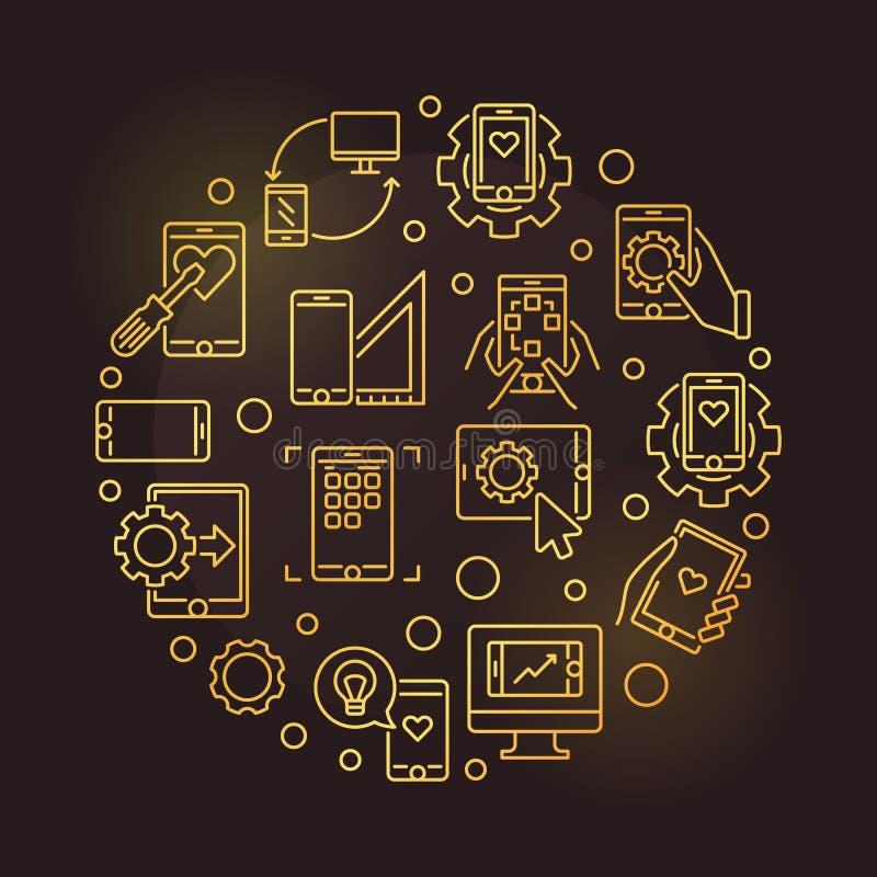 Vector móvil del desarrollo del App alrededor de la línea ejemplo de oro ilustración del vector