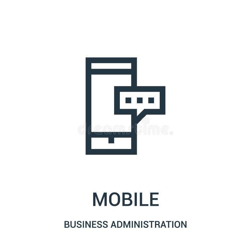 vector móvil del icono de la colección de la administración de empresas Línea fina ejemplo móvil del vector del icono del esquema libre illustration