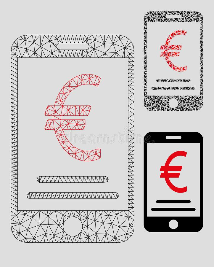 Vector móvil euro Mesh Network Model del pago e icono del mosaico del triángulo libre illustration