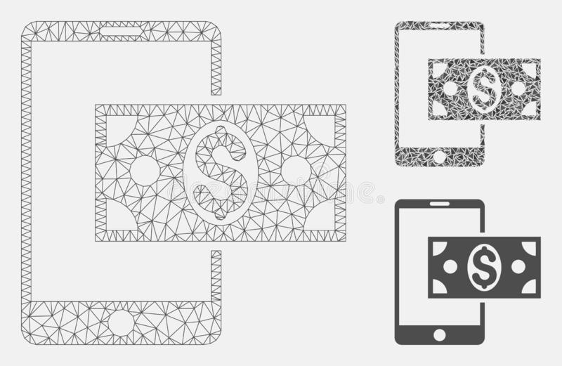 Vector móvil Mesh Network Model del efectivo del dólar e icono del mosaico del triángulo ilustración del vector