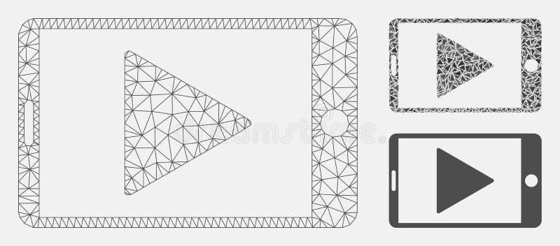 Vector móvil Mesh Network Model del juego del comienzo e icono del mosaico del triángulo libre illustration