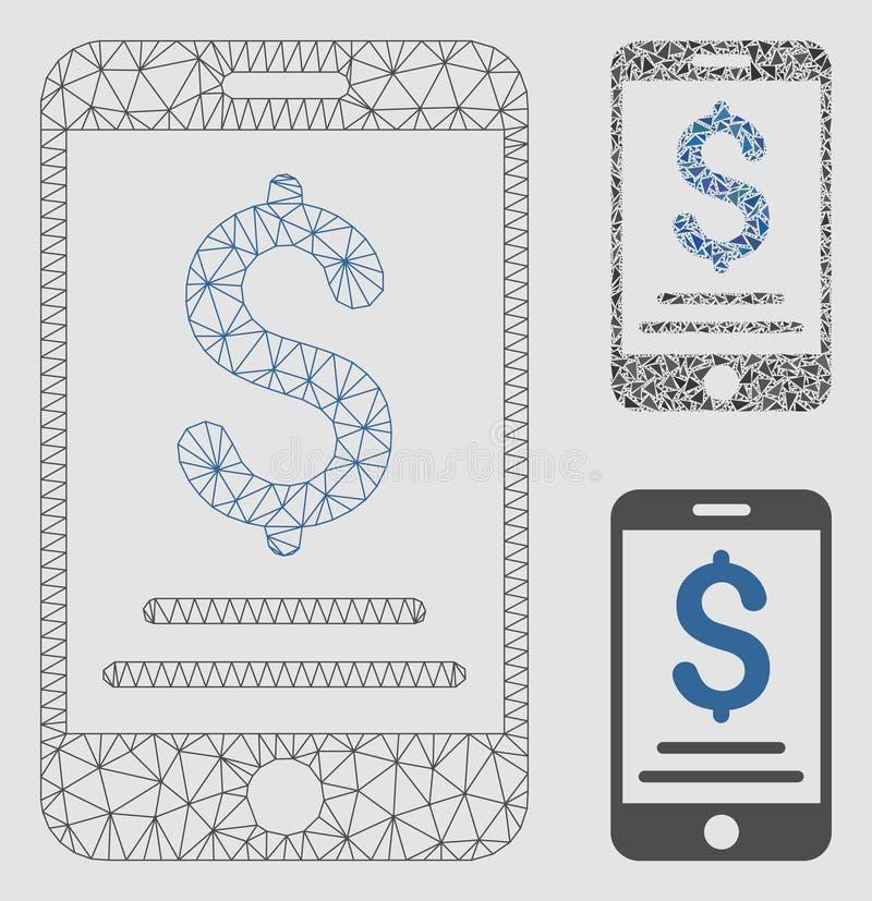Vector móvil Mesh Network Model del pago del dólar e icono del mosaico del triángulo libre illustration
