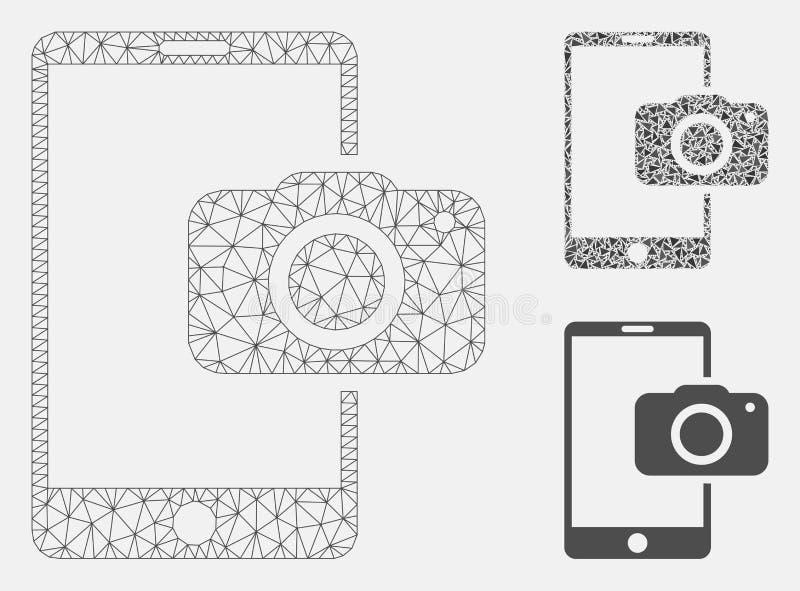 Vector móvil Mesh Wire Frame Model de la cámara e icono del mosaico del triángulo ilustración del vector