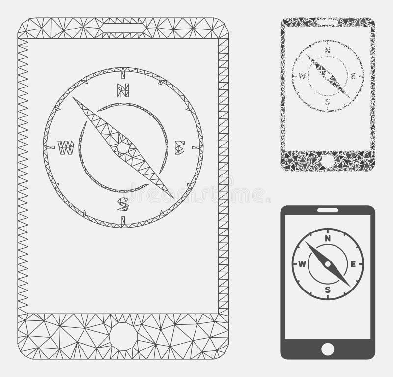 Vector móvil Mesh Wire Frame Model del compás e icono del mosaico del triángulo stock de ilustración