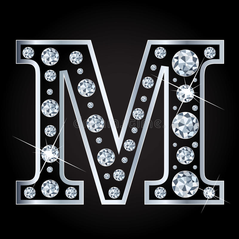Download Vector M Letter Made With Diamonds Isolated On Black Background Stock