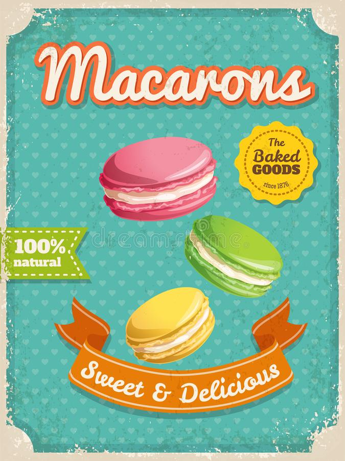 Vector macaroons poster in vintage style with typography elements vector illustration