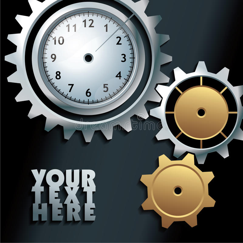 Free Vector Machine Gears With Clock Background Royalty Free Stock Photography - 42898327