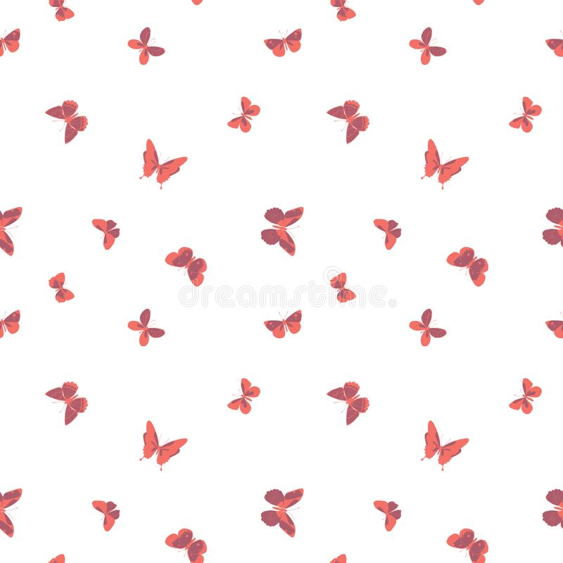 Vector magenta and coral flying butterflies seamless pattern on white background royalty free illustration