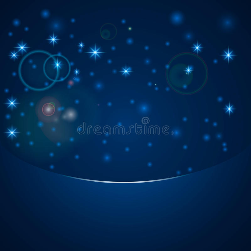 Vector magic bokeh lights with stars, snow, lens flare effect and sparkles on blue background with copy space. royalty free illustration