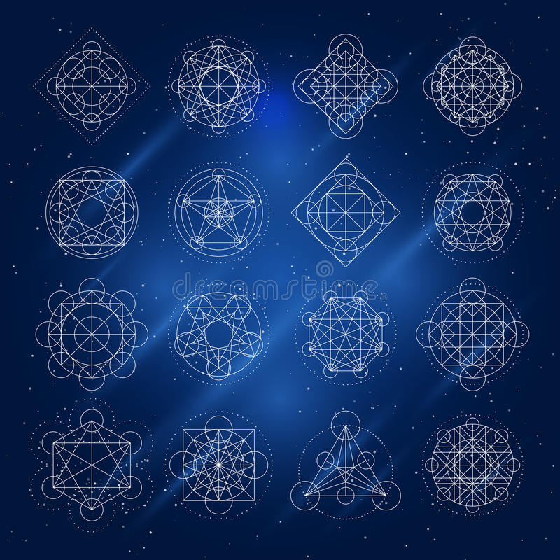 Sacred Geometry Set Of Complicated Symbols In Vector  Stock Vector
