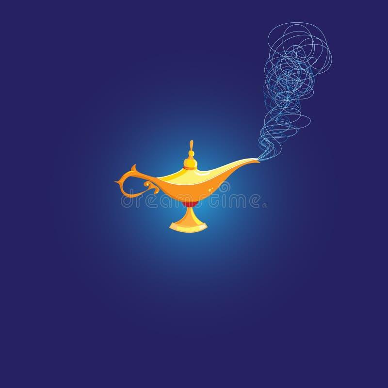 Vector Magic Lamp of Aladdin. On a dark background stock illustration