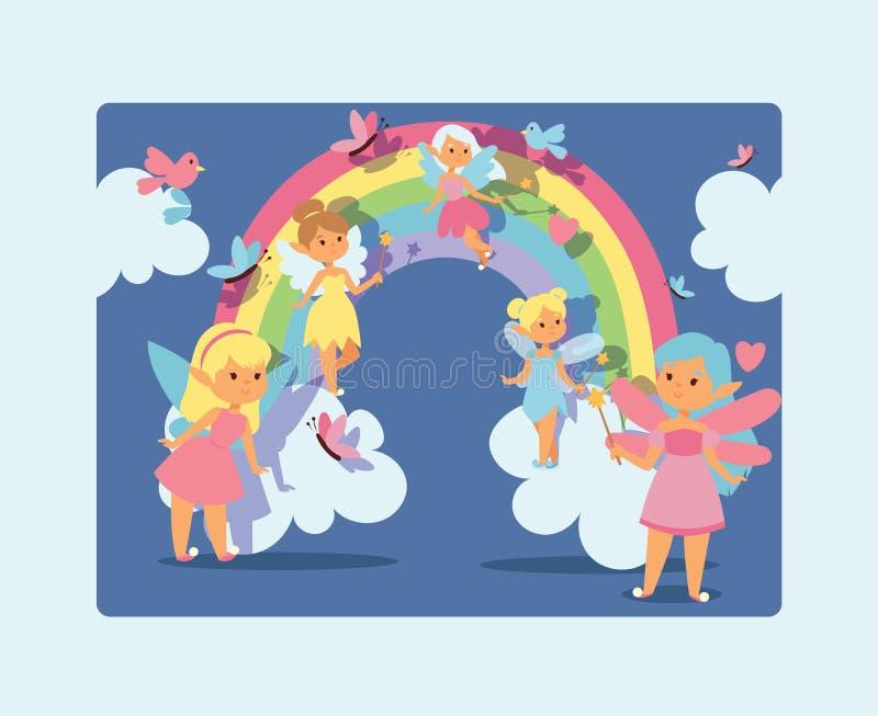 Vector magisch faerykarakter van het feemeisje en het beeldverhaaleenhoorn van de fantasie mooie prinses van sprookje in regenboo royalty-vrije illustratie