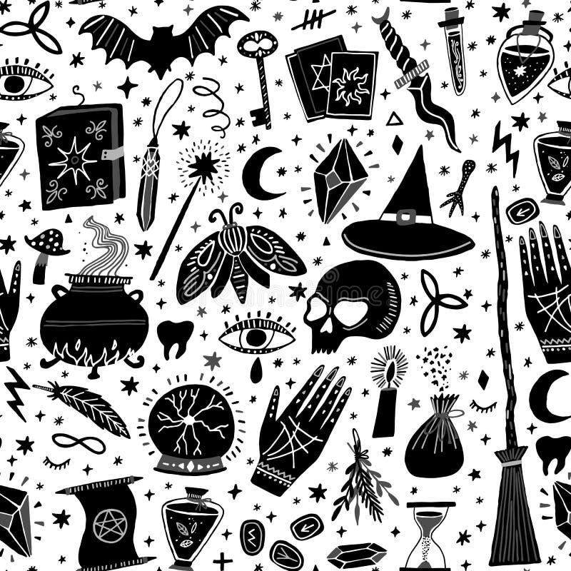 Vector magisch heksen naadloos patroon hekserij stock illustratie