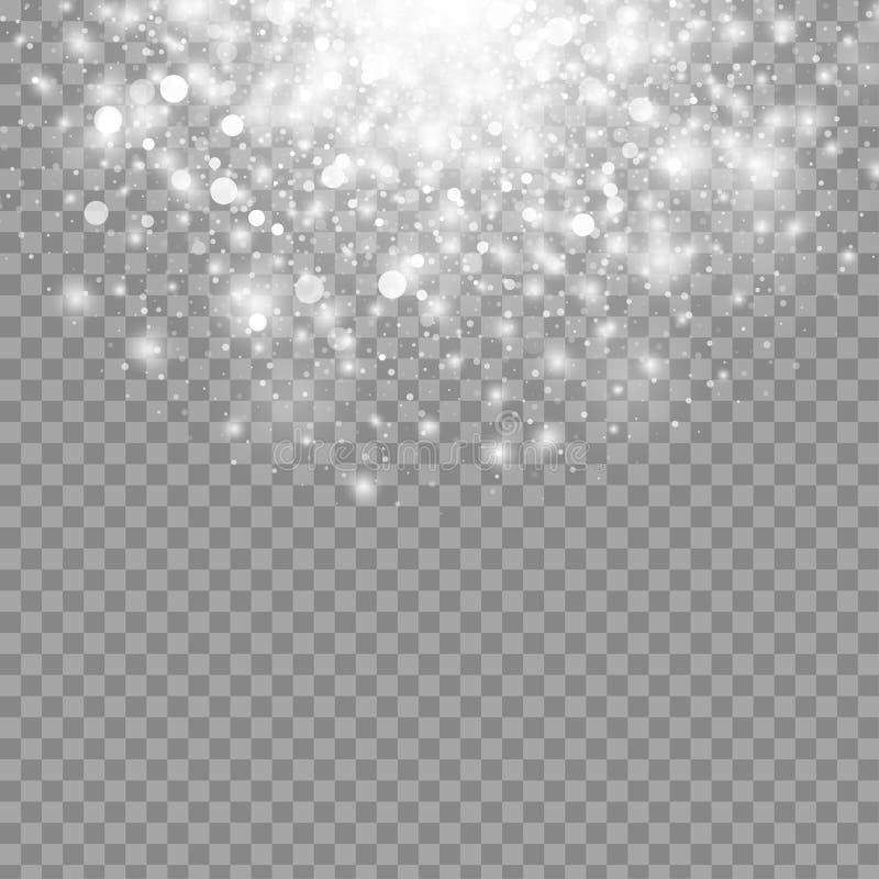 Vector magisch witte geïsoleerd gloed lichteffect voor transparante achtergrond Het ontwerpelement van Kerstmis royalty-vrije illustratie