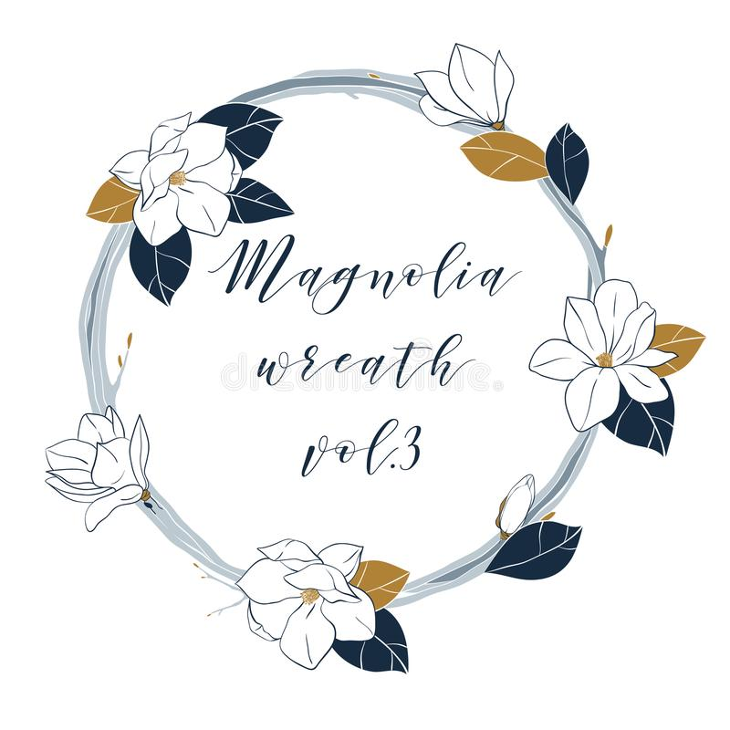 Vector magnolia wreath in deep blue and bronze colors hand draw download vector magnolia wreath in deep blue and bronze colors hand draw illustartion with magnolia maxwellsz