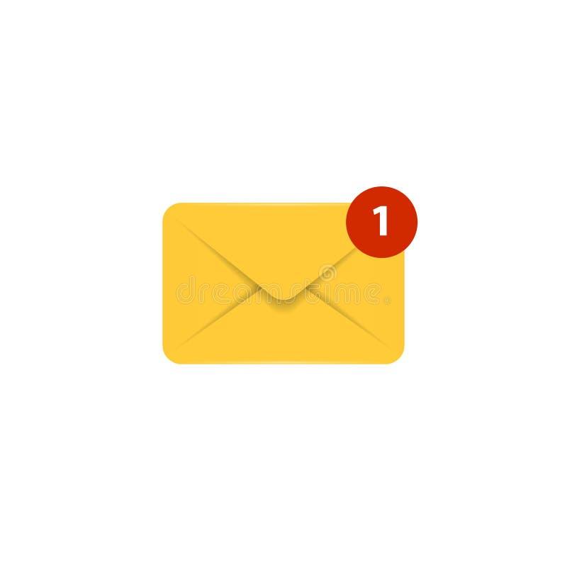 Vector mail icon. Envelope realistic sign. Element for design interface mobile app or website. Message symbol vector illustration