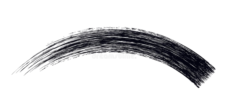 Vector make-up cosmetic mascara brush stroke design isolated on white. Realistic mascara smear template royalty free illustration