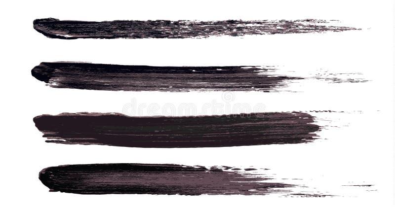 Vector make-up cosmetic mascara brush stroke texture design isolated on white. Realistic mascara smear set template. Mascara eyelashes brush stroke makeup royalty free illustration