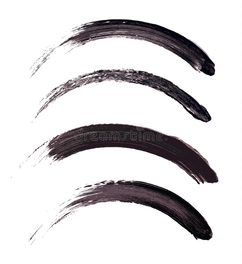 Vector make-up cosmetic mascara brush stroke texture design isolated on white. Realistic mascara smear set template vector illustration