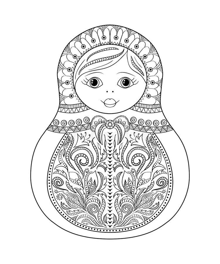 Vector Malbuch für Erwachsenen und Kinder - russische matrioshka Puppe Übergeben Sie gezogenes zentangle mit den Blumen- und ethn lizenzfreie abbildung