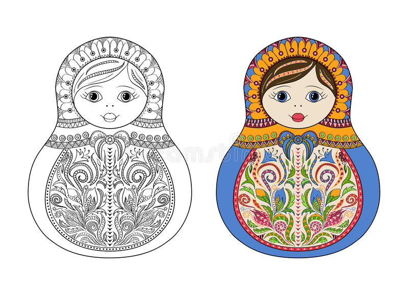 Vector Malbuch für Erwachsenen und Kinder - russische matrioshka Puppe Übergeben Sie gezogenes zentangle mit den Blumen- und ethn vektor abbildung