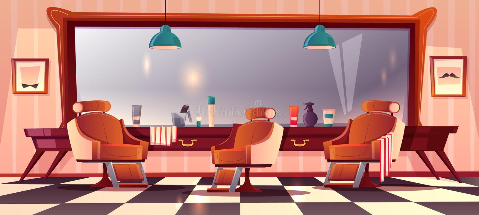 Vector male barbershop, gentlemanly salon for hipster. Vector background with male barbershop, gentlemanly salon for haircutting. Hipster grooming place with vector illustration