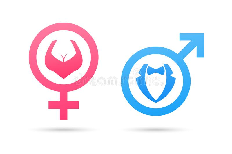 Vector male and female gender symbol. Man and woman icon. Gentleman and lady toilet sign stock illustration