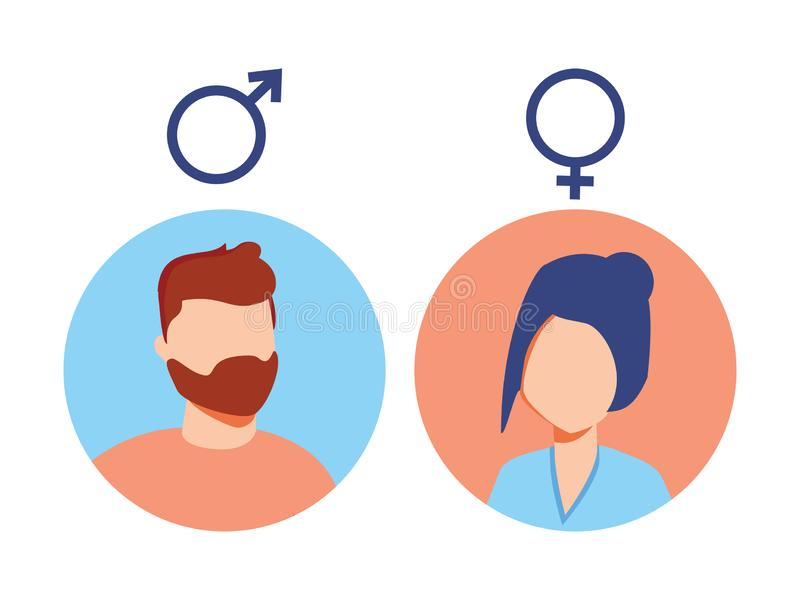 Vector male and female icon set. User avatar. Man and lady toilet sign. Sex symbol. Gender icon. Boy and girl pictogram. vector illustration
