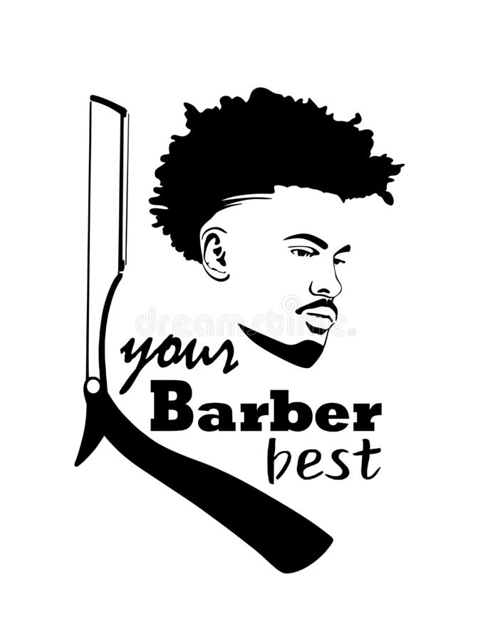 Vector male head silhouette.Black African American with Mohawk hair . royalty free illustration