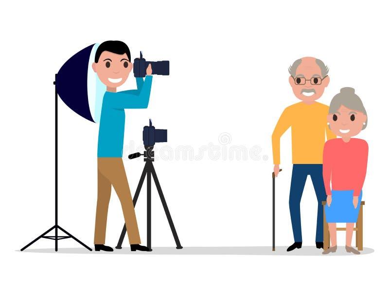 Vector male photographer takes photo grandparents. Vector illustration cartoon male photographer takes pictures photo grandparents. Isolated white background stock illustration