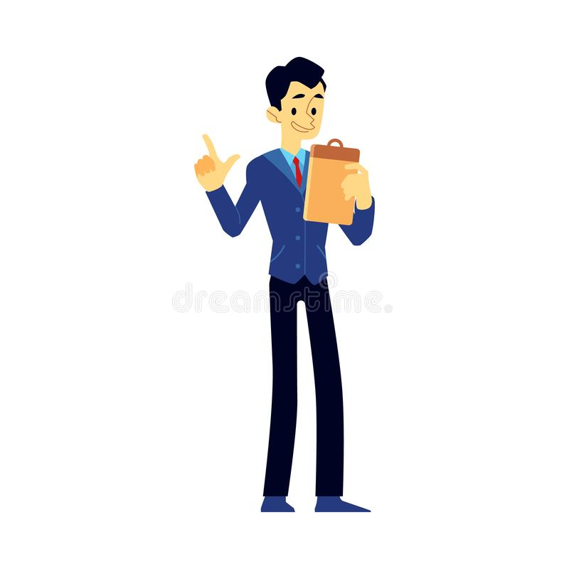 Vector male show host, newscaster emcee icon. Vector cheerful show host, newscaster or reporter man in suit holding clipboard. Smiling man in jacket interviewer stock illustration