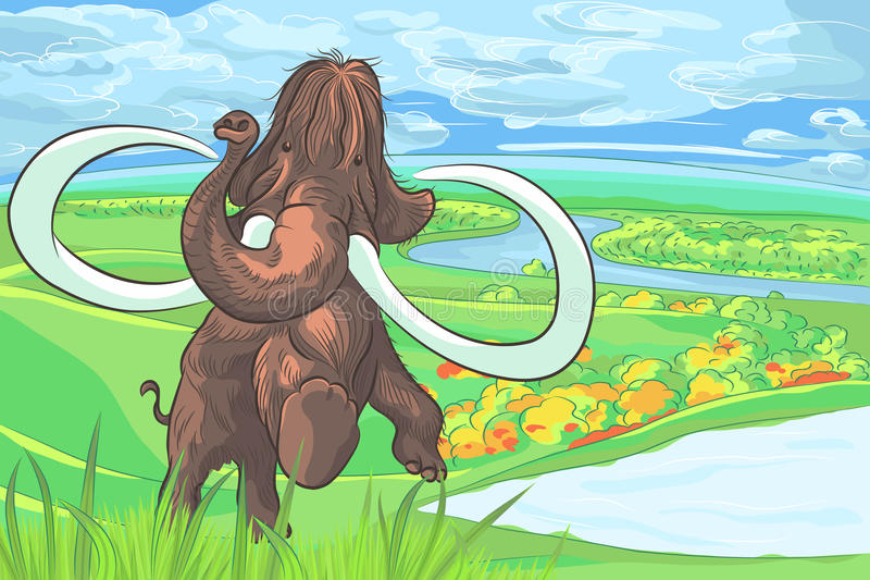 Vector mammoth in a landscape with a river royalty free stock photography