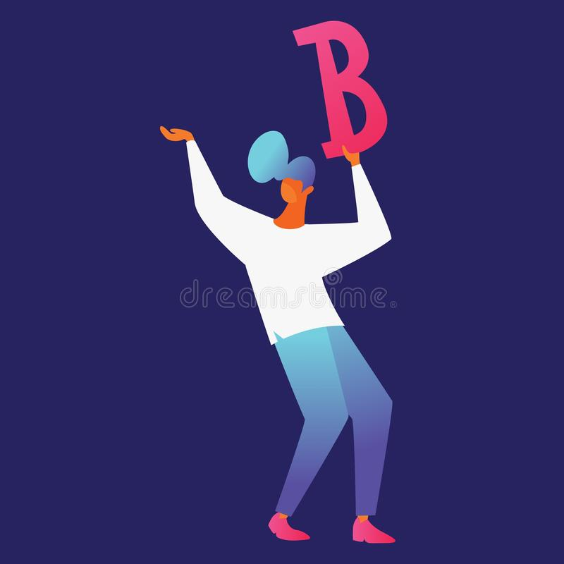 Vector man character drawn in flat contemporary style with vivid gradients, isolated on dark background. Young guy holding red. Letter B in hands royalty free illustration