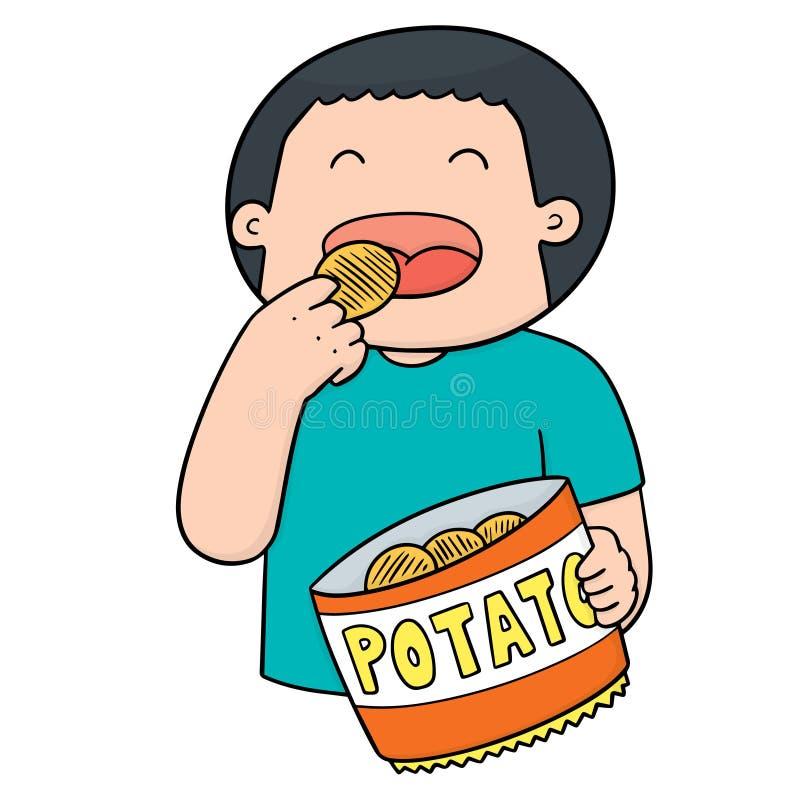 Vector of man eating potatoes. Hand drawn cartoon, doodle illustration vector illustration