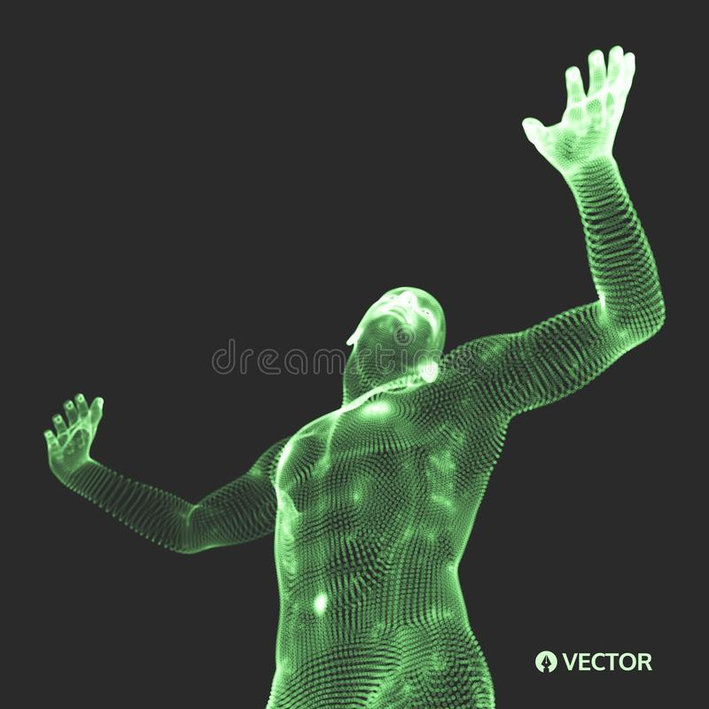 Vector man with hand up to stop. Human showing stop gesture. 3D model of man. 3D vector illustration vector illustration