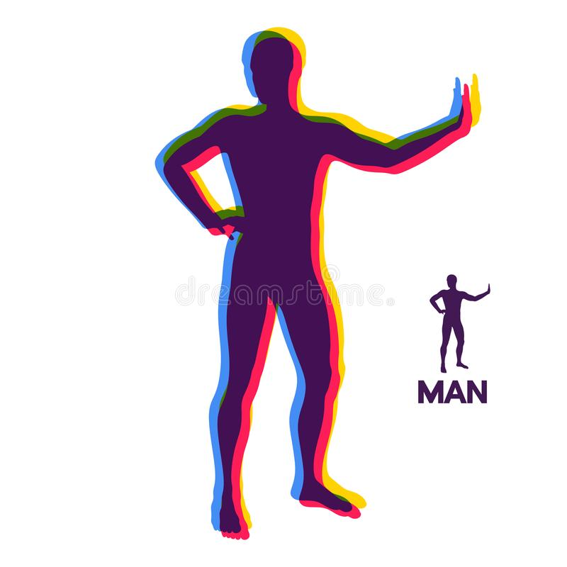 Vector man with hand up to stop. Human showing stop gesture. Silhouette of a standing man. Vector illustration vector illustration