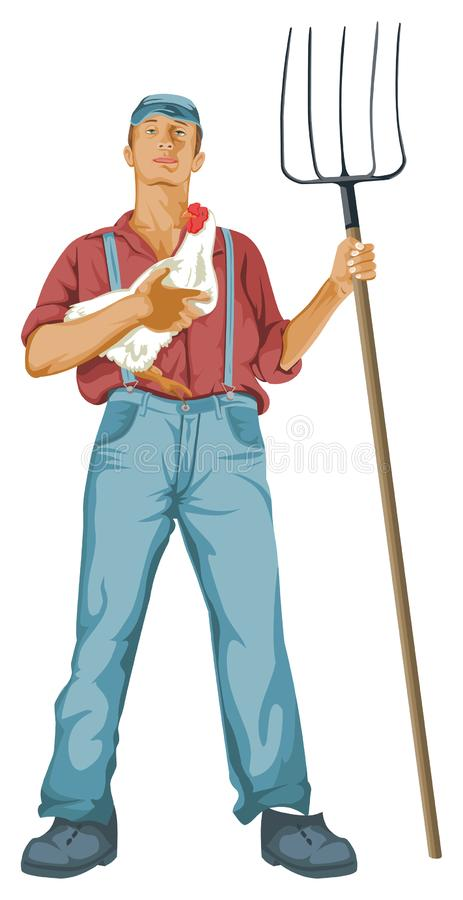Vector of man with hen and shovel stock illustration