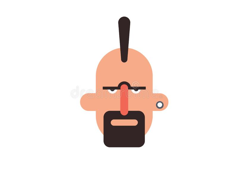 Vector man holding a beard but bald head on a white background stock illustration