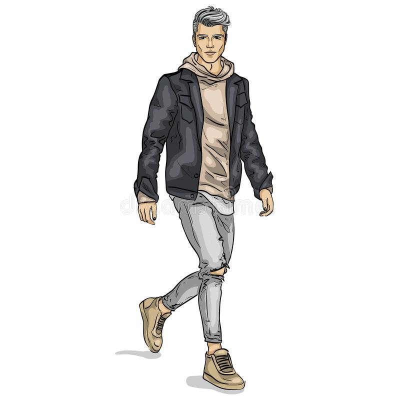 Vector man model. Dressed in jeans, hoody, jeans jacket and sneakers stock illustration