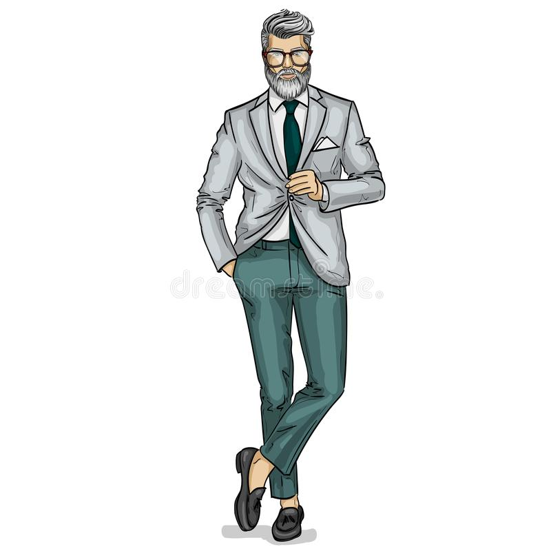 Vector man model dressed. In pants, shirt, jacket and loafers stock illustration