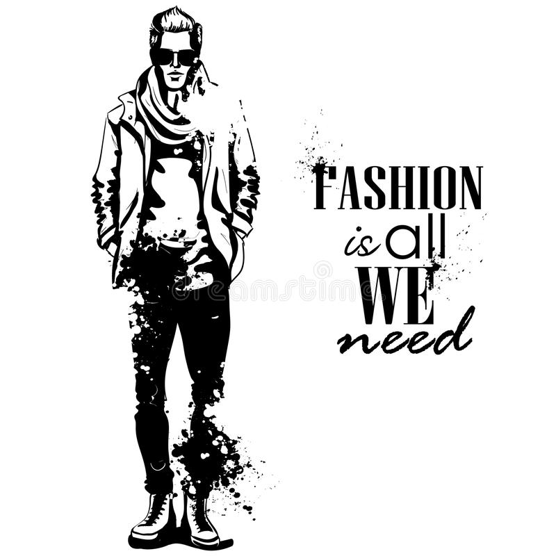 Vector man model dressed. In jeans, t-shirt, jacket, sneakers, scarf and sunglasses, splash stile. Fashion is all we need royalty free illustration