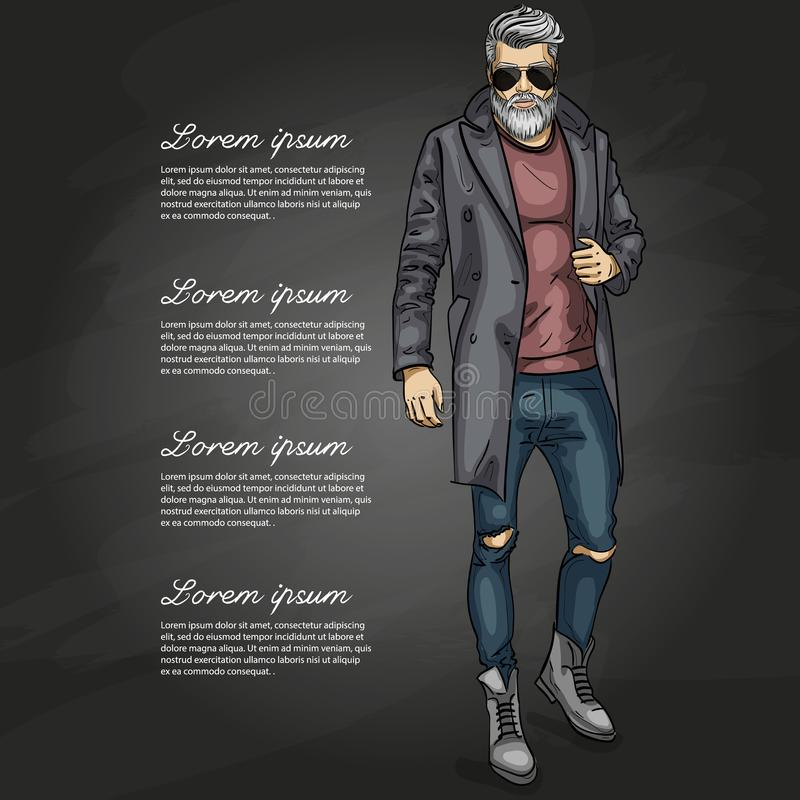 Vector man model. Dressed in jeans, pullover, coat and boots on a dark background royalty free illustration
