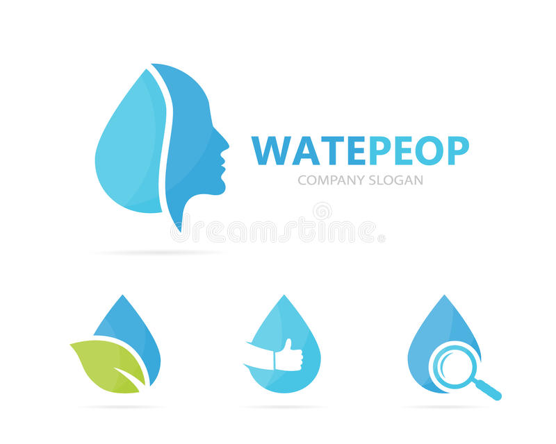 Vector Of Man And Oil Logo Combination Face And Drop Symbol Or Icon