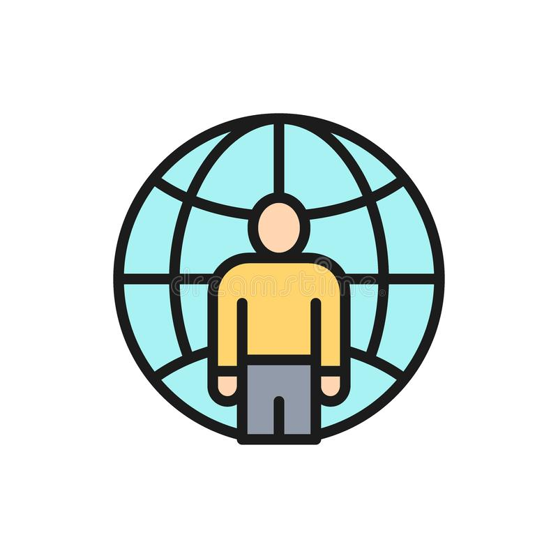 Vector man with planet, freelancer, international employee flat color line icon. royalty free illustration