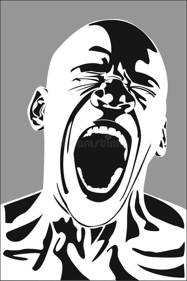 Vector Man Screaming agony stock photo