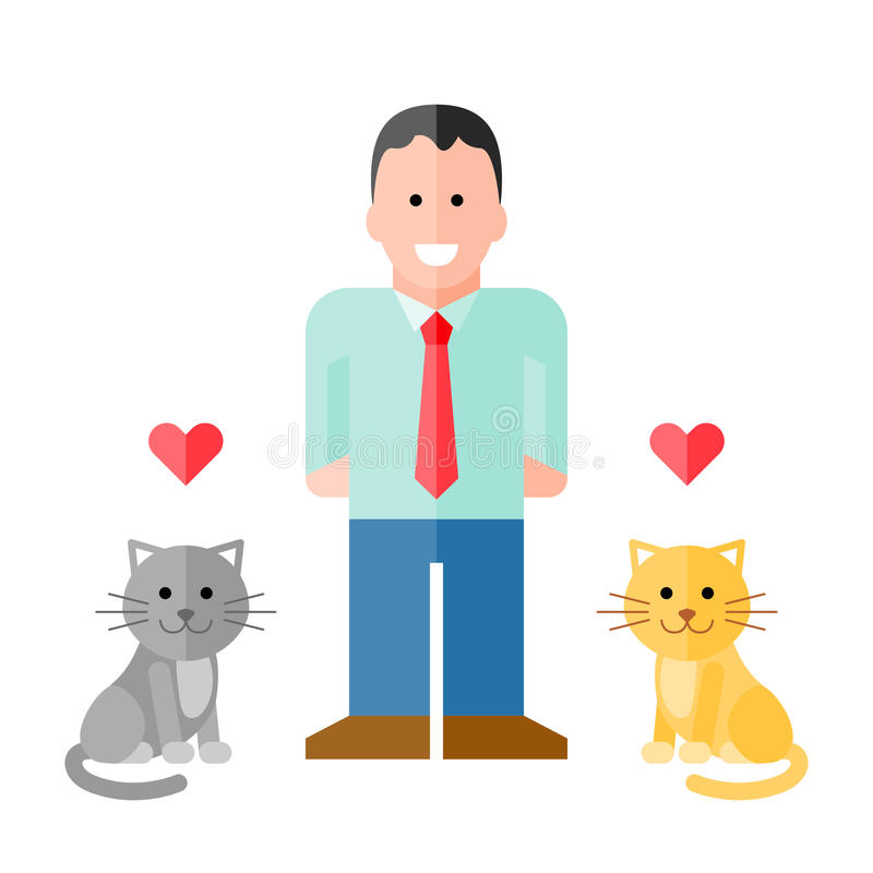 Vector Man in Shirt with Pet Cats. EPS8 with assets on separate layers. No gradients or transparency used. Strokes are expanded into fills stock illustration