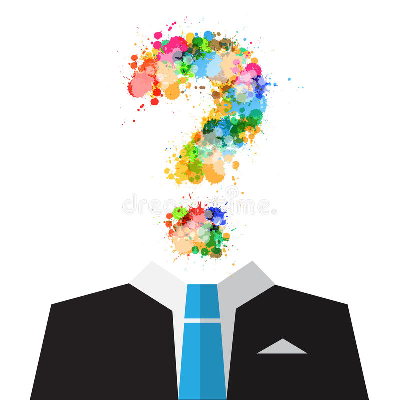 Vector Man in Suit with Colorful Splashes Question Mark Symbol. Instead of Head Isolated on White Background stock illustration