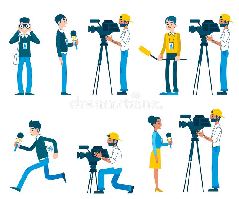 Vector man video reporter setting camera interview. Vector correspondence, reporting live, video interview and journalism concept characters set. Men, women royalty free illustration